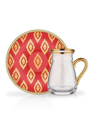 Glore Nihavent Anita Kırmızı Kulplu 6'Lı Çay Seti Kırmızı